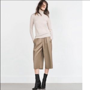 Zara Fox Leather Culottes Sz. S